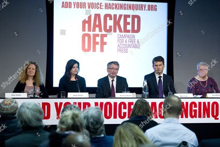 Hacked Off press conference - Joan Smith, Jacqui Hames, Brian Cathcart, Mark Lewis and Jane Winter