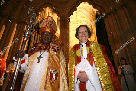 Archbishop of York John Sentamu and the Very Reverend Vivienne Faull during her installation as The Dean of York