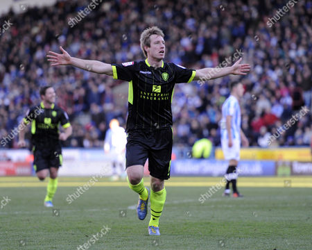 Luciano Becchio of Leeds celebrates after scoring their fourth goal.