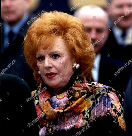 Stock Picture of Actress Barbara Knox At Funeral Of Actress Jill Summers.