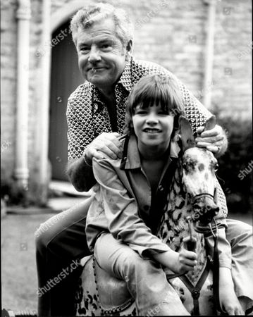Actor Kenneth More (died 7/82) With 12-year-old Nigel Rhodes His Co-star In Tv Movie 'the Rocking Horse'.