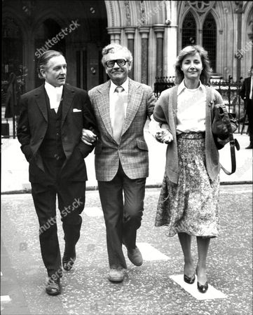 Editorial photo of Actor Kenneth More (died 7/82) With Third Wife Actress Angela Douglas And Qc Mr Anthony Hoolahan At The High Court.