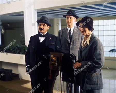 David Suchet as Hercule Poirot, Hugh Fraser as Captain Hastings and Fiona Walker as Miss Lingard