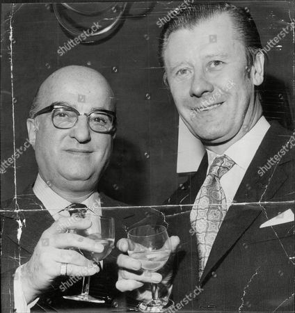 Stock Picture of Chairman Of Mecca And Conservative Candidate For Dulwich Eric Morley (right) With Ben Rosenfeld At Variety Club Luncheon Eric Morley (26 September 1918 A 9 November 2000) Was The Founder Of The Miss World Pageant. His Widow Julia Morley Is Now Head Of The Pageant. Morley Started His Career In The Entertainment Business In 1945 When He Resigned His Commission To Managing A Travelling Show In Scotland And Then In 1946 Joined The Mecca Organisation As A Publicity Manager. In 1949 He Was Able To Introduce Ballroom Dancing Onto Bbc Television Through The Come Dancing Programme Encouraging Viewers To Visit Mecca's Dance Halls. In 1952 He Was Mecca's General Manager Of Dancing And Was Made A Director In 1953. With Mecca Morley Helped To Populise Bingo Which Was Played At Mecca Venues Throughout The United Kingdom. He Changed The Company From A Small Catering And Dancing Firm Into A Leading Entertainment And Catering Company In The Uk. It Employed 15 000 People And Covered Dance Halls Catering Bingo Gambling Ice-skating Rinks Bowling Alleys Discos And Several Restaurants. The Company Also Provided Catering And Entertainment Services For Several Of The Biggest Football Clubs In London; Arsenal Chelsea And Tottenham Hotspur. In 1978 He Left Mecca After A Disagreement With The Then Parent Company Grand Metropolitan Becoming Chairman Of The Belhaven Brewery Company In Scotland. Morley Was A Confirmed Supporter Of Margaret Thatcher And Also Had Political Ambition. A Resident Of Herne Hill He Nearly Won In The 1979 General Election Slashing The Labour Party 7 500 Majority Of Sam Silkin To A Mere 122 At His Local Dulwich South London. Following His Defeat He Remarked 'unlike Sam Silkin I Didn't Go To Dulwich College And To Cambridge. I Went To The College Of Hard Knocks And Last Week I Received My Doctorate.