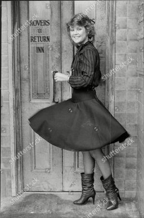 Cheryl Murray Actress From Tv Soap Opera Coronation Street Poses Outside Rovers Return Pub 1983.