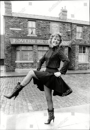 Cheryl Murray Actress From Tv Soap Opera Coronation Street Dances Outside Rovers Return Pub 1983.