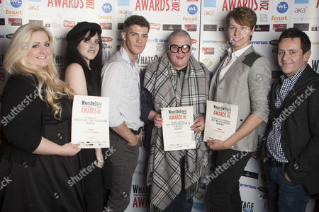 Katie Kerr, Miamh Perry, Alistair Brammer, Sam Buttery, Adam Bailey and Paul Baker with the nominations for Taboo