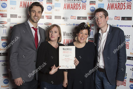 Michael Xavier, Jenna Russell, Beverly Rudd and Jamie Hendry with the nomination for Best New Musical for Soho Cinders