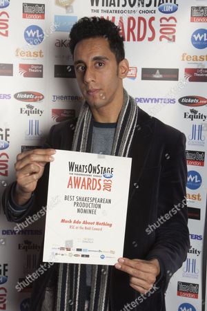 Muzz Khan with the nomination for Best Shakespearean Production for Much Ado About Nothing