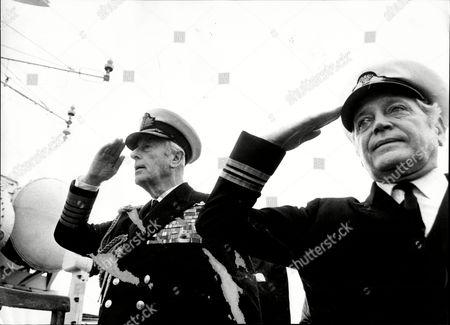 Lord Mountbatten (died 8/79) And Lt. Commander David Weston Aboard Hms Cavalier.