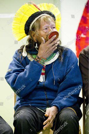 Editorial image of Raoni Txukarramae visits the Parisian Living School, Paris, France - 06 Dec 2012