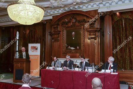 Stock Picture of L-R: Lord Macdonald, Jimmy Wales, Sir Chris Fox, Nick Pickles, David Davis