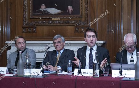 Stock Image of L-R: Jimmy Wales, Sir Chris Fox, Nick Pickles, Lord Macdonald