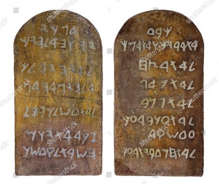 Stock Image of Tablets of Stone used by Charlton Heston in 'The Ten Commandments'