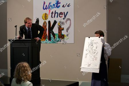 Lord Dalmeny auctions Quentin Blake's illustration that was created during the auction
