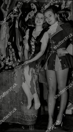 Christine Norden With Fellow Actress Cherry Lind Both In Costume For Pantomime Cinderella London 1951.