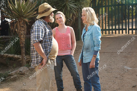 Stock Picture of Du Plessis (Deon Stewardson), Olivia (Olivia Scott-Taylor) and Caroline (Hayley Mills)