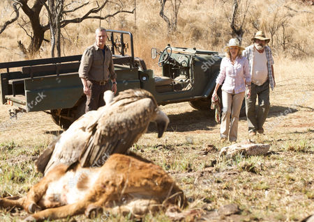 Stock Photo of Danny (Stephen Tomkinson), Caroline (Hayley Mills) and Du Plessis (Deon Stewardson) come across a sick Vulture.