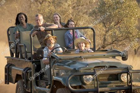 Stock Image of Danny (Stephen Tomkinson), Caroline (Hayley Mills) and Du Plessis (Deon Stewardson), Thabo (Atandwa Knai), Olivia (Olivia Scott-Taylor) and Charlotte (Tarryn Brummage)
