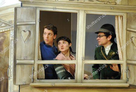 Dylan Kennedy as Hansel, Ruby Bentall as Gretel, Justin Salinger as Johann