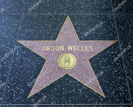 Terrazzo star for the artist Orson Welles, radio category, Walk of Fame, Hollywood Boulevard, Hollywood, Los Angeles, California, United States of America, USA, PublicGround