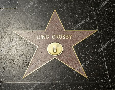 Terrazzo star for Bing Crosby, radio category, Walk of Fame, Hollywood Boulevard, Hollywood, Los Angeles, California, United States of America, USA, PublicGround