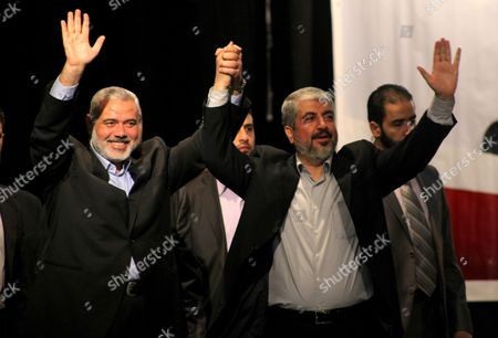 Palestinian Prime Minister in Gaza Strip Ismail Haniyeh and Hamas chief Khaled Meshaal