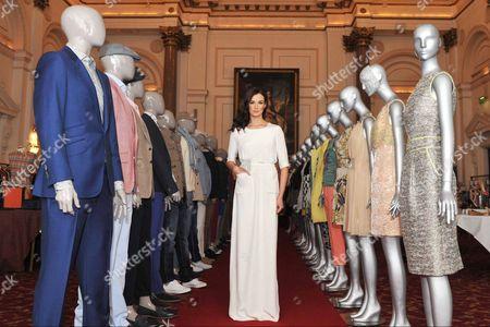 Stock Picture of Model Karen Fitzpatrick wears Lennon Courtney white dress e390