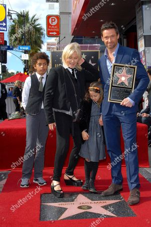 Oscar Maximillian Jackman, Deborra-Lee Furness, Ava Eliot Jackman and Hugh Jackman