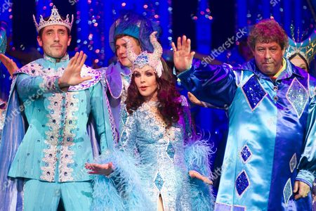 Stock Picture of James Austen-Murray (Prince), Priscilla Presley (Wicked Queen) and Lee Carroll (Jester)