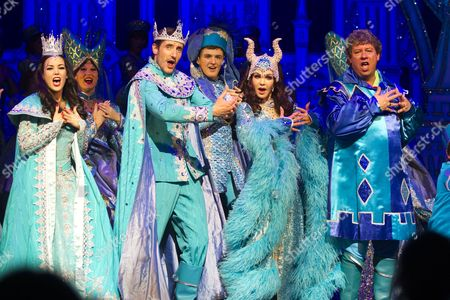 Stock Photo of Lizzie Jay-Hughes (Snow White), James Austen-Murray (Prince), Priscilla Presley (Wicked Queen) and Lee Carroll (Jester)