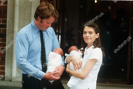 EARL SPENCER CHARLES ALTHORP AND WIFE COUNTESS VICTORIA LOCKWOOD WITH TWINS ELIZA VICTORIA AND KATYA AMELIA