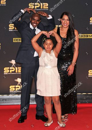 Mo Farah with wife Tania Farah and daughter Rihanna Farah