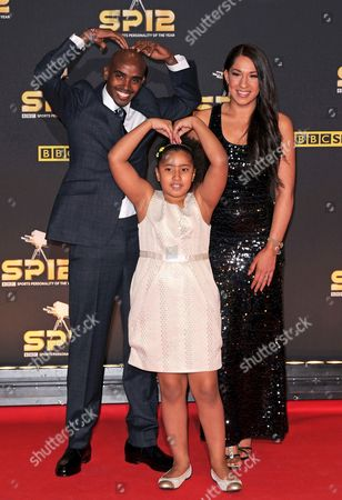 Stock Picture of Mo Farah with wife Tania Farah and daughter Rihanna Farah