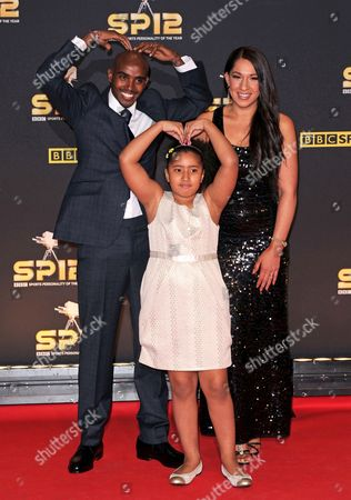 Stock Photo of Mo Farah with wife Tania Farah and daughter Rihanna Farah
