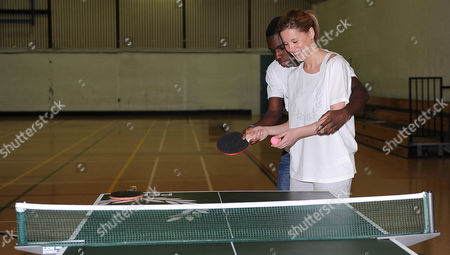 Stock Image of Darius Knight Table Tennis Master Class With Laura Williamson.
