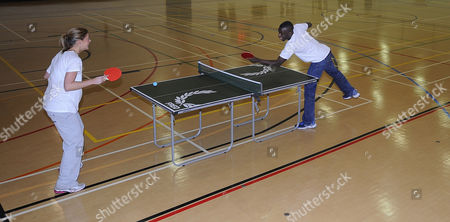 Stock Picture of Darius Knight Table Tennis Master Class With Laura Williamson.