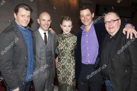 Anthony Calf (Colonel Pickering), Daniel Evans (Director), Carly Bawden (Eliza Doolittle), Dominic West (Professor Henry Higgins) and Martyn Ellis (Alfred P Doolittle)