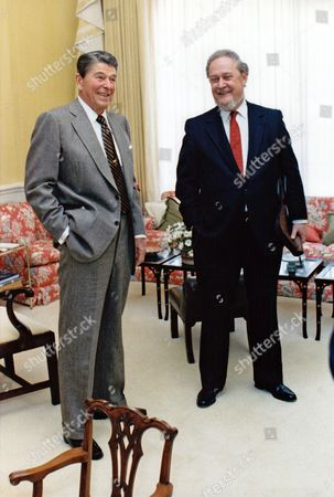Editorial image of President Ronald Reagan and Judge Robert H. Bork, Washington, D.C., America - 09 Oct 1987