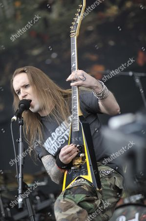 Leicester United Kingdom - June 10: Alexi Laiho From Children Of Bodom Live Onstage At Download Festival 2011 Donington Park Leicester June 10
