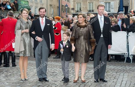 Hereditary Grand Duke Guillaume of Luxembourg, Grand Duchess Stephanie of Luxembourg, Grand Duke Henri of Luxembourg and Grand Duchess Maria Teresa of Luxembourg