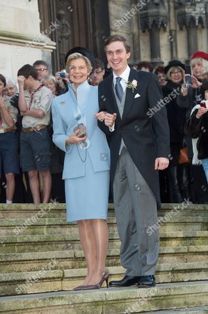 Archduke Christoph of Austria arrives for his wedding ceremony with his mother Archduchess Marie-Astrid of Austria
