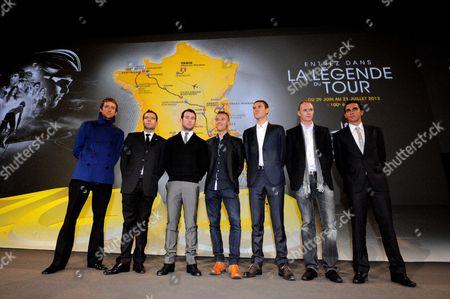 Presentation for the 2013 Tour de France -  L to R Bradley Wiggins, Cadel Evans, Mark Cavendish, Gilbert, Tejay VanGarderen, Chris Froome and Alberto Contador.