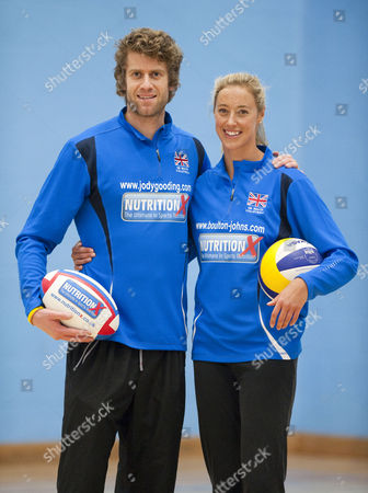 Newly Married Beach Volleyball Players Denise Johns And Jody Gooding Teach Volleyball To Gloucester Rugby Players Luke Narroway Freddie Burns And Jonny May At Hartpury College Gloucester.