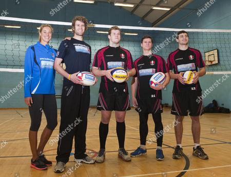 Newly Married Beach Volleyball Players (from Left) Denise Johns And Jody Gooding Teach Volleyball To Gloucester Rugby Players Luke Narroway Freddie Burns And Jonny May At Hartpury College Gloucester.