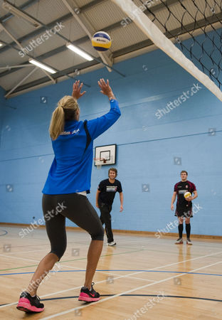Newly Married Beach Volleyball Players Denise Johns And Jody Gooding Teach Gloucester Rugby Player Luke Narroway How To Play Volleyball At Hartpury College Gloucester.