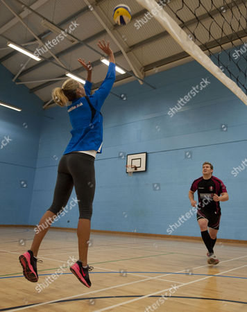 Newly Married Beach Volleyball Players Denise Johns Sets For Gloucester Rugby Player Luke Narroway At Hartpury College Gloucester.