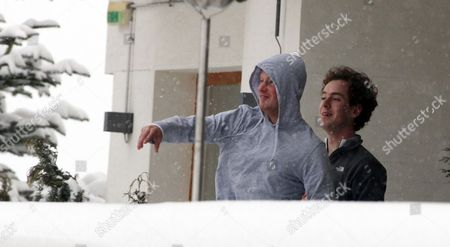 Prince Harry And A Friend Tom Inskip Throw Snowballs From A Hotel Balcony At The Swiss Resort Of Verbier.