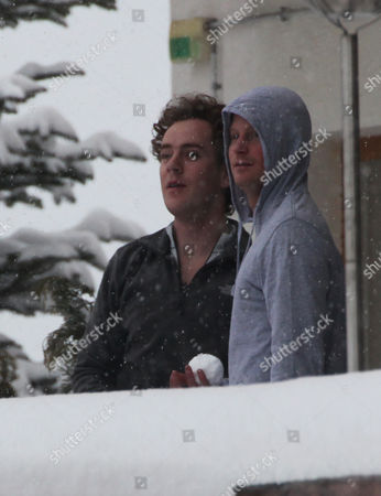 Editorial image of Prince Harry And Best Friend Tom 'skippy' Inskip Throw Snowballs From A Hotel Balcony At An Exclusive Swiss Resort.