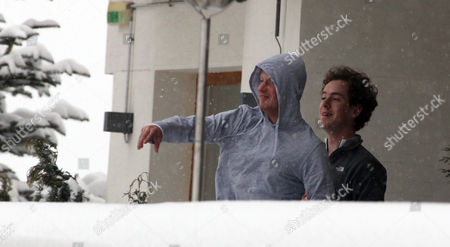 Stock Photo of Prince Harry And Best Friend Tom 'skippy' Inskip Throw Snowballs From A Hotel Balcony At An Exclusive Swiss Resort.